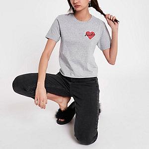 T-shirt gris à écusson « heartbreaker »