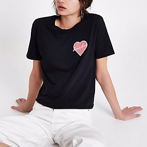 T-shirt à empiècement «Heartbreaker» noir
