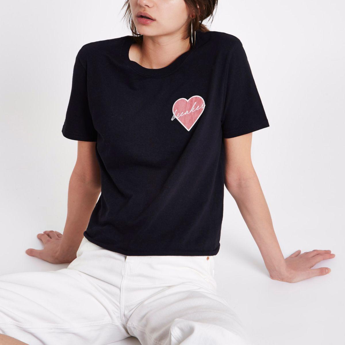 Black 'heartbreaker' patch T-shirt