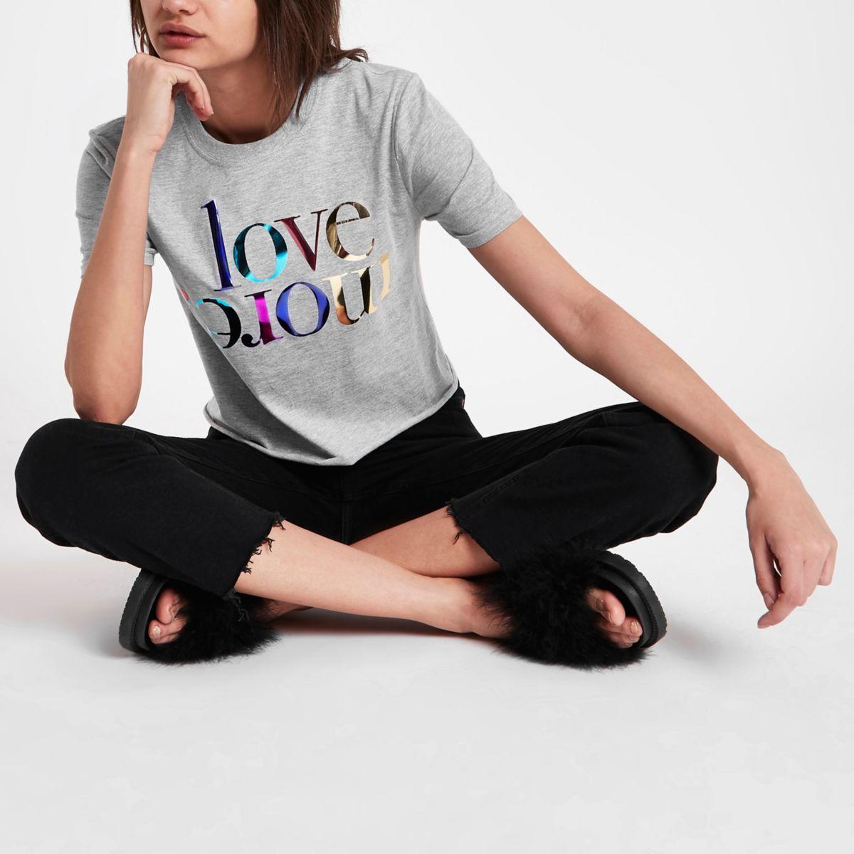 Grey 'love more' foil print T-shirt