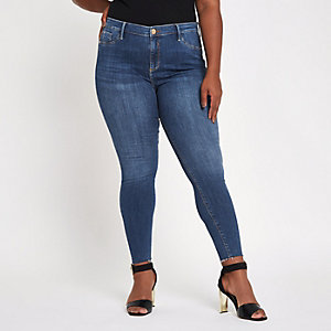 Plus blue Molly rip hem super skinny jeggings