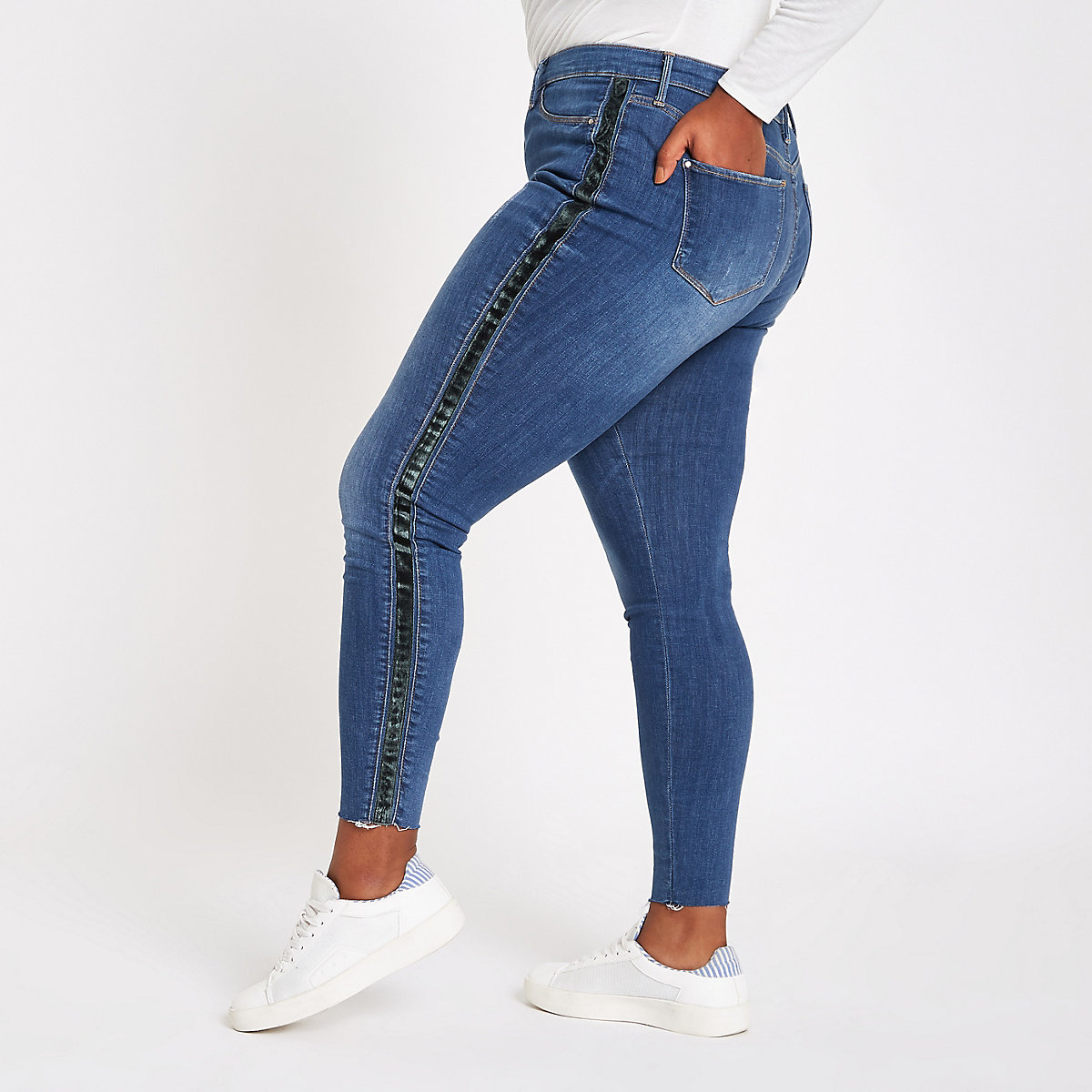 Plus light blue Molly side stripe jeggings