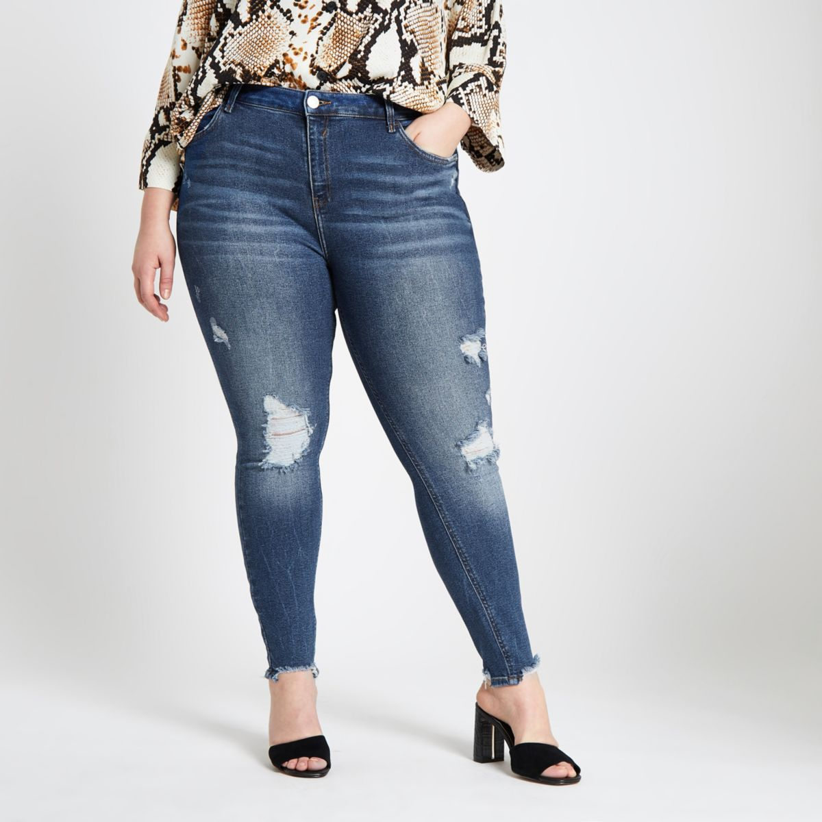 Plus blue Amelie ripped super skinny jeans
