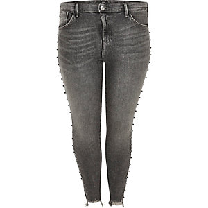 Plus dark grey Amelie stud embellished jeans