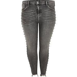 Plus – Amelie – Dunkelgraue, nietenverzierte Jeans
