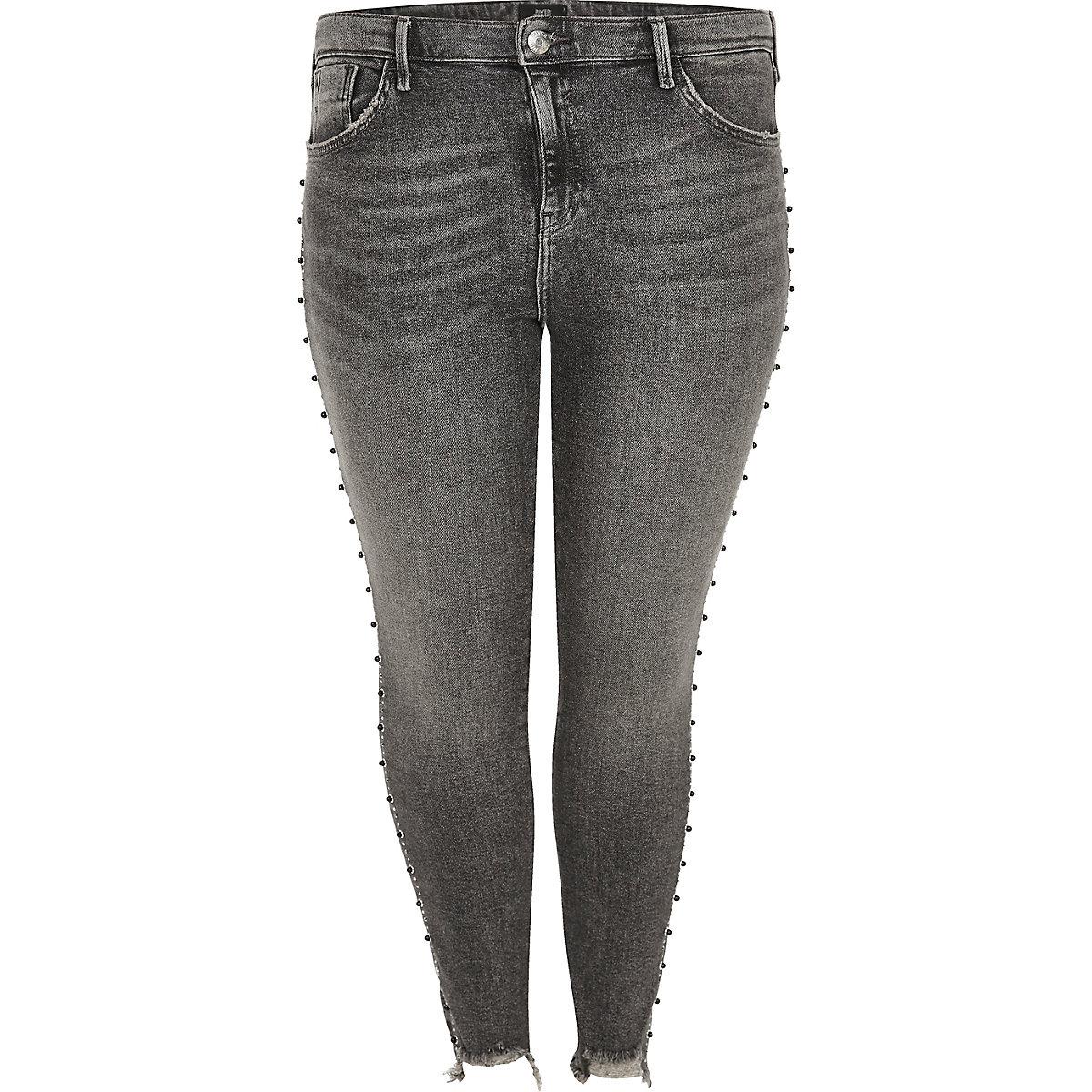 Plus dark grey Amelie stud embellished jeans