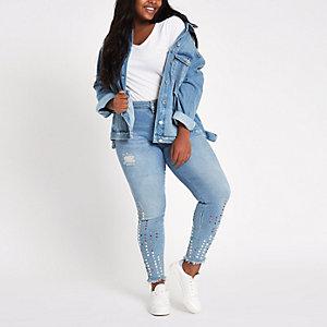 Plus – Amelie – Blaue, mittelhohe Skinny Jeans
