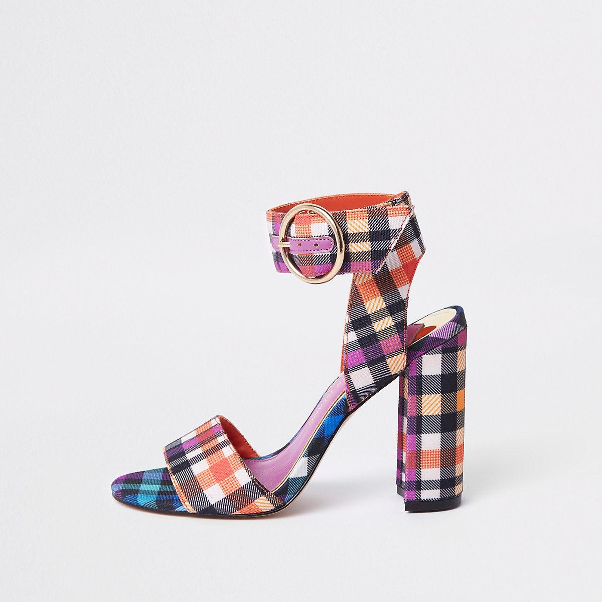 Purple check print block heel sandals