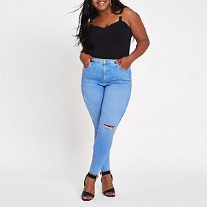 Plus – Harper – Blaue Super Skinny Jeans
