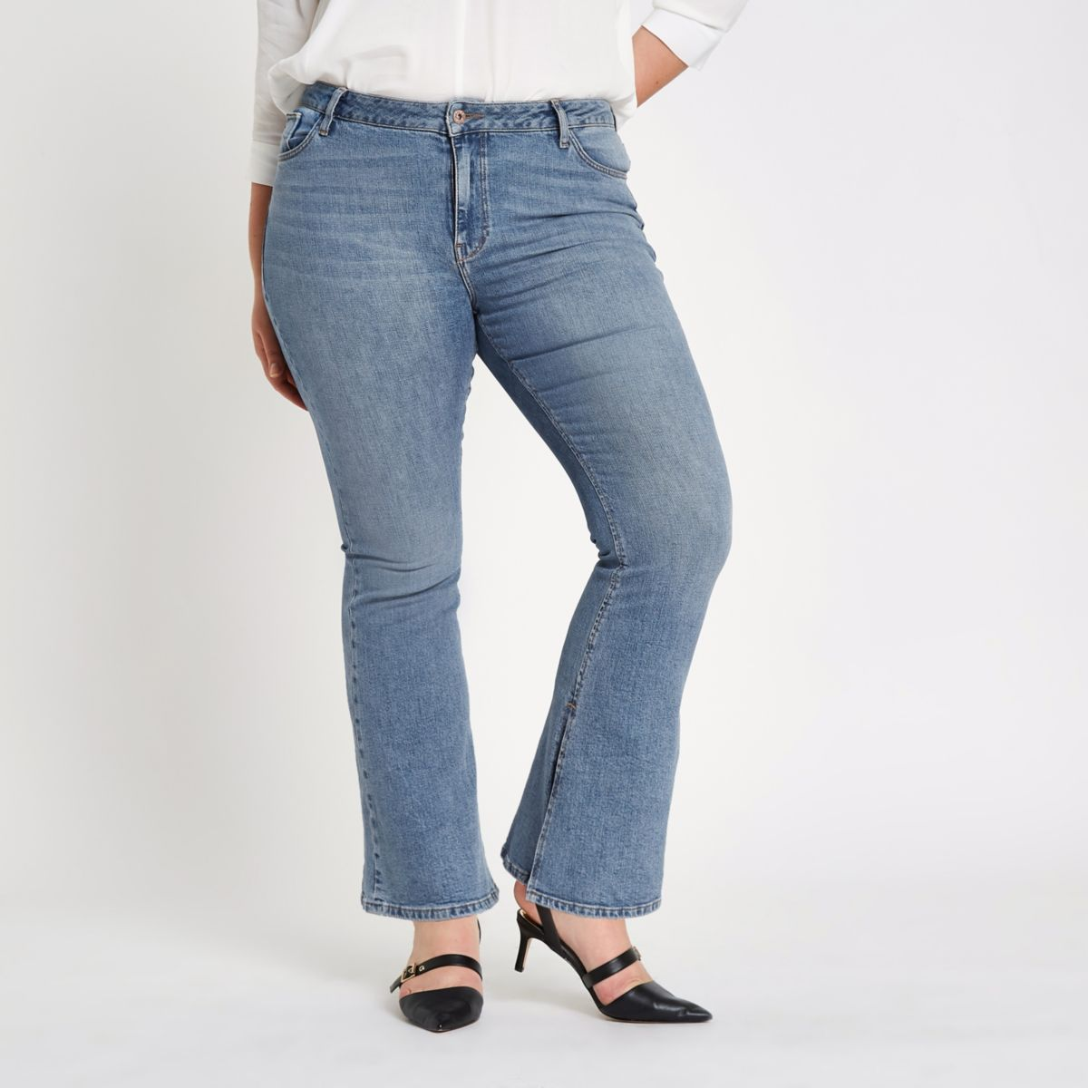 Plus blue wash high rise flare jeans