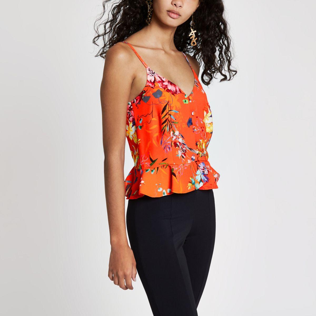 Orange floral print button front cami top
