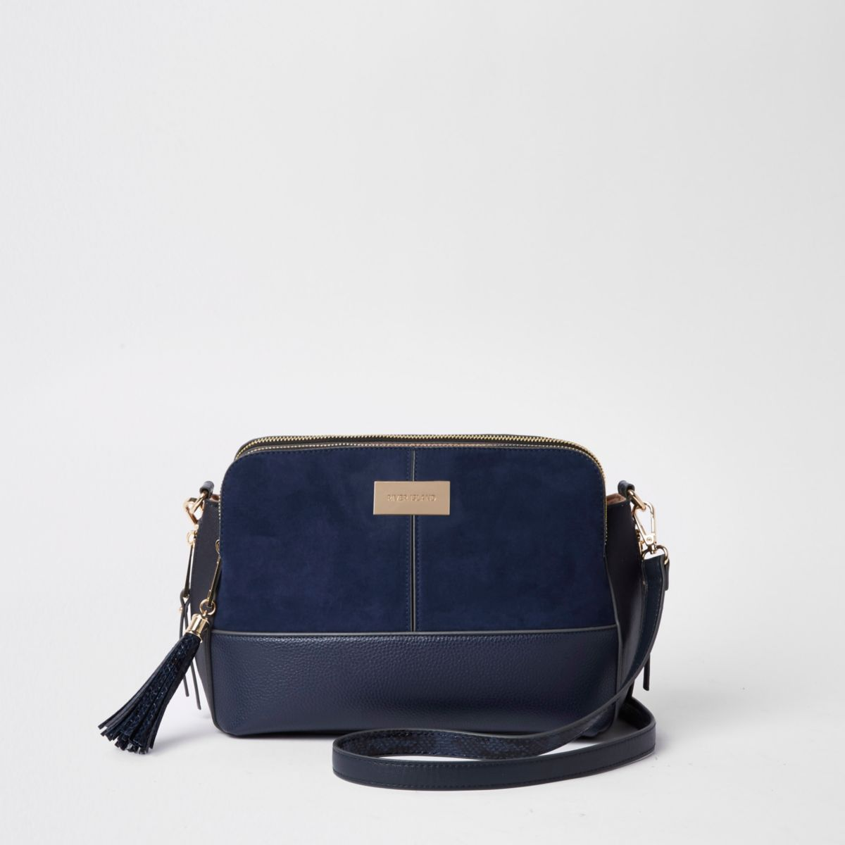 Navy triple compartment cross body bag