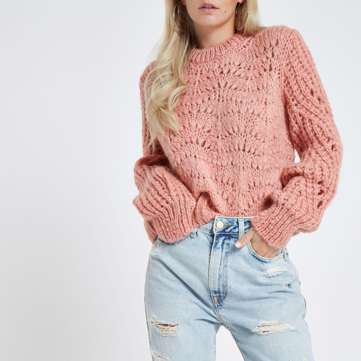 Petite pink chunky knit sweater