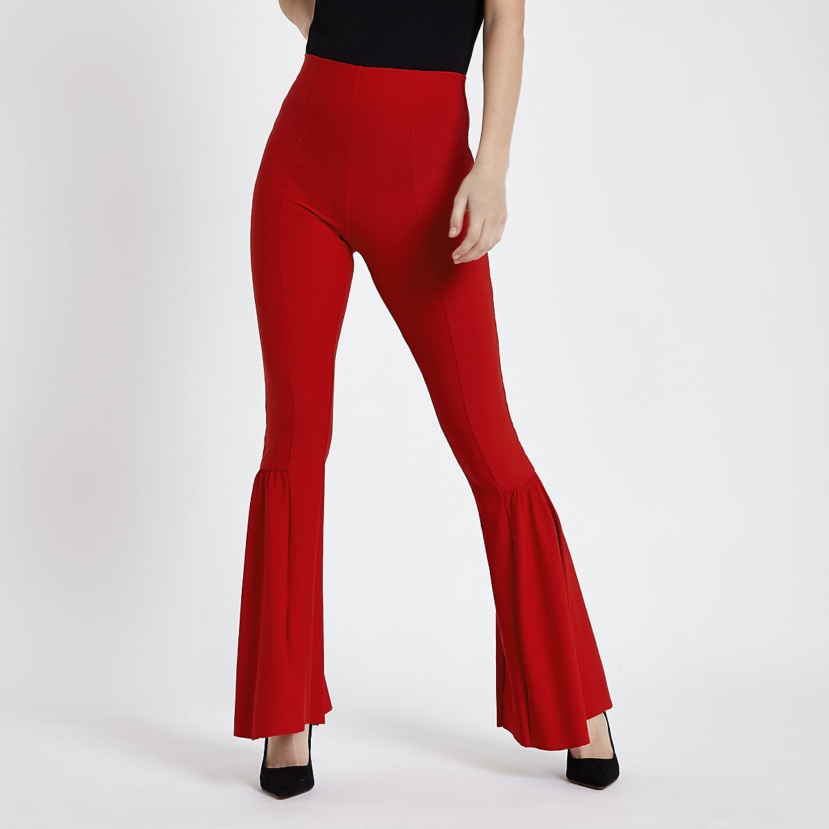 Red frill flare trousers