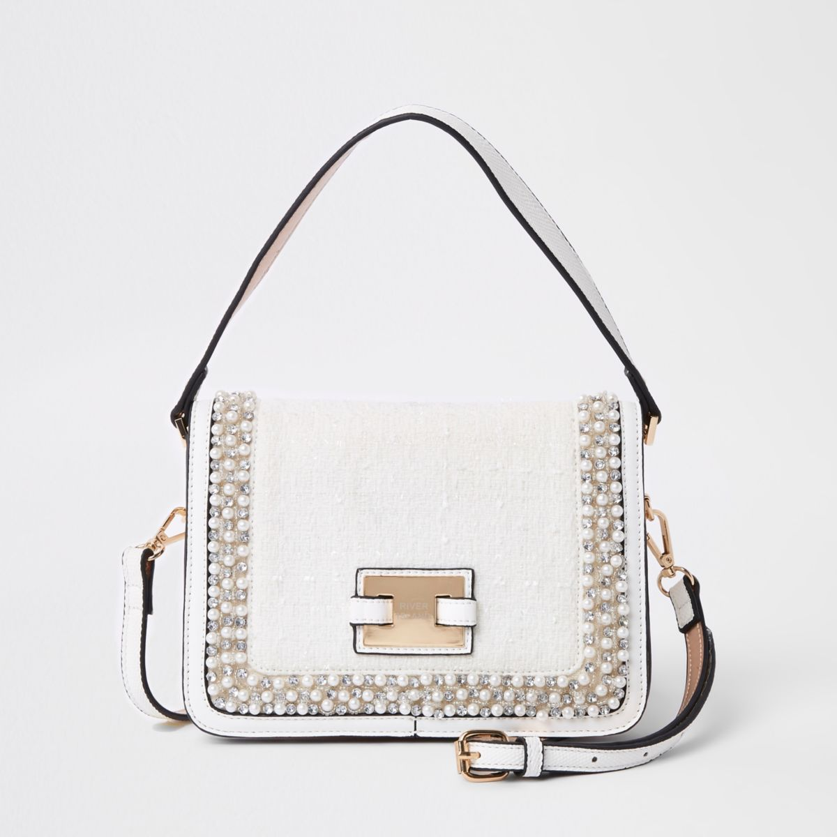 Cream boucle pearl embellished cross body bag