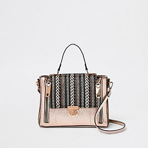 Beige metallic geweven crossbodytas