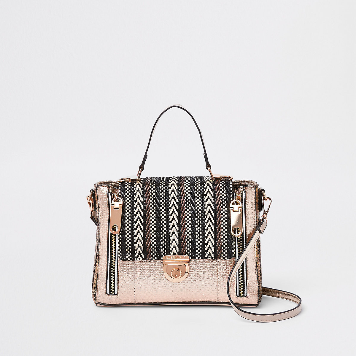 Beige metallic mixed weave cross body bag