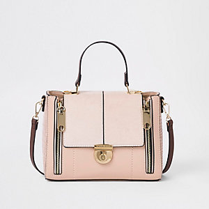 Light pink lock fastening cross body bag