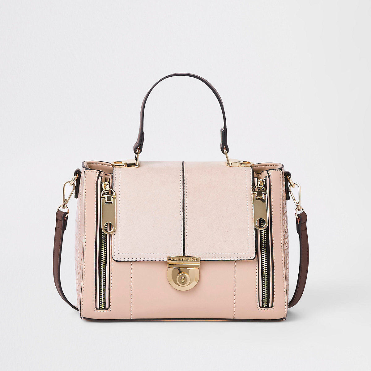 Light pink lock fastening cross body bag