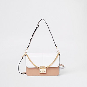 White croc lock front underarm bag