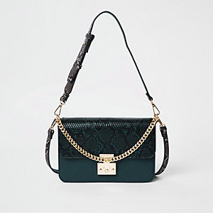 Green snake print lock front cross body bag