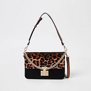 Beige tas met luipaardprint en slot voor
