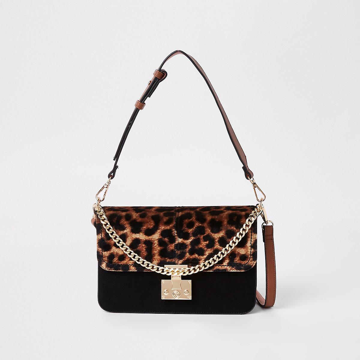 Beige leopard print lock front underarm bag