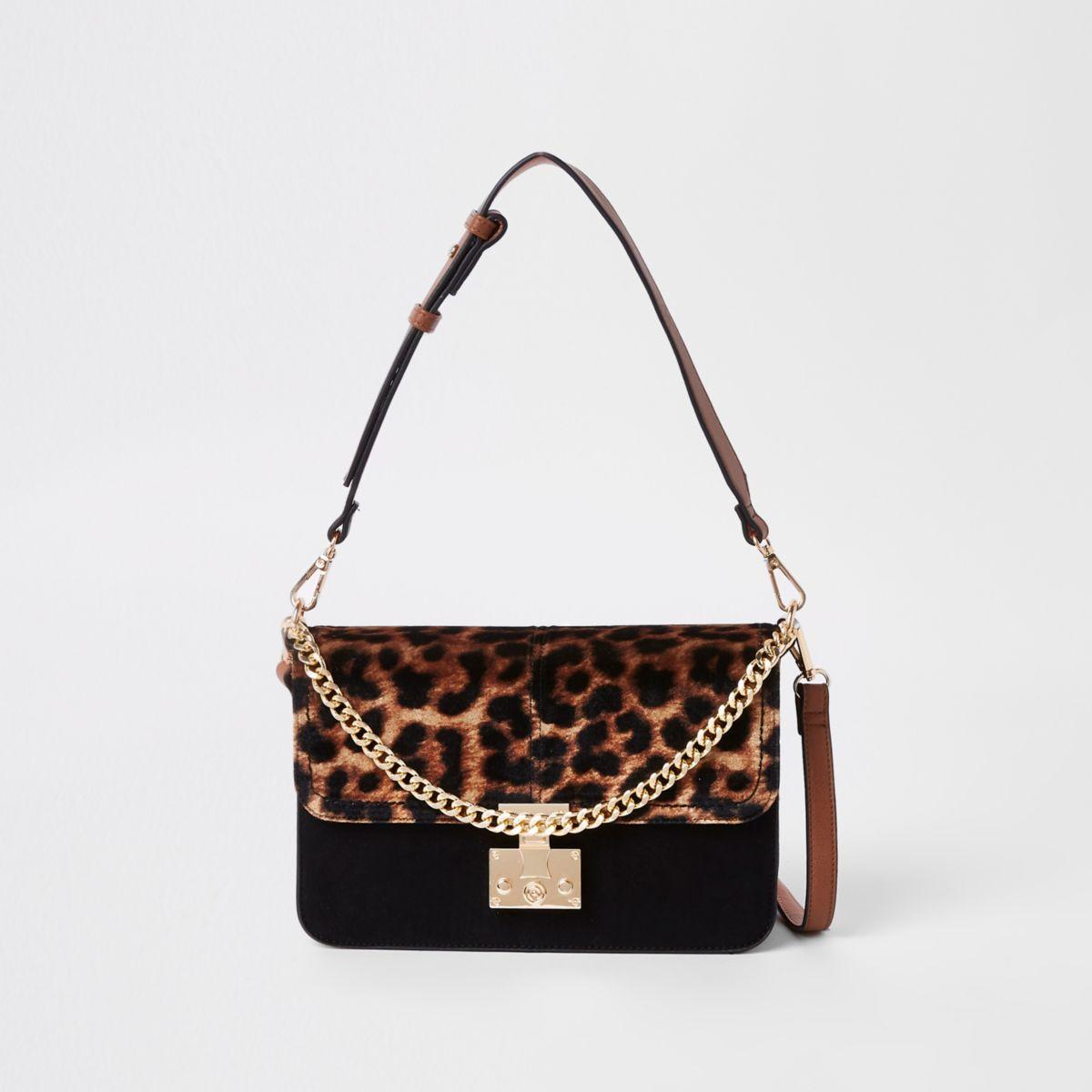 Beige Tasche mit Leopardenmuster