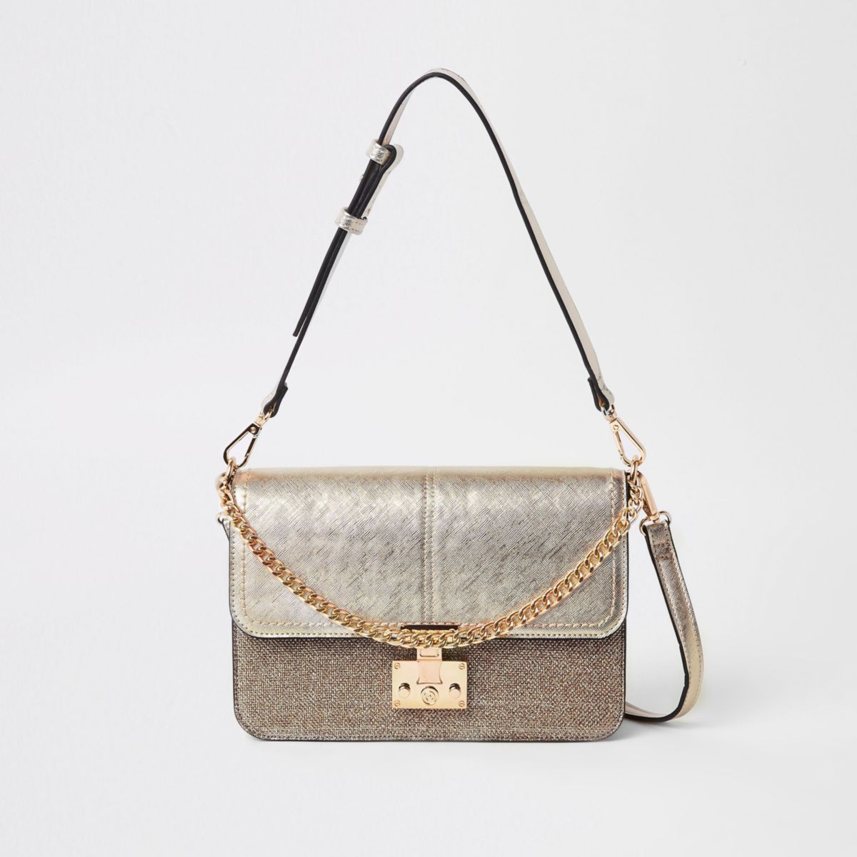 Gold tone lock front cross body bag