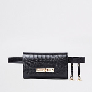 Black croc lock front belted bum bag