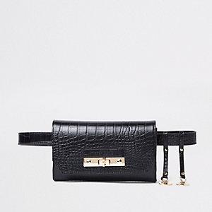 Zwarte heuptas met riem met krokodillenleereffect en slot aan de voorkant