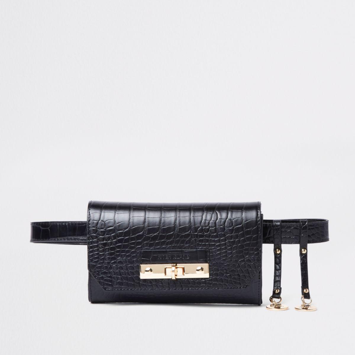 Zwart heuptasje met krokodillenprint, gesp en riem