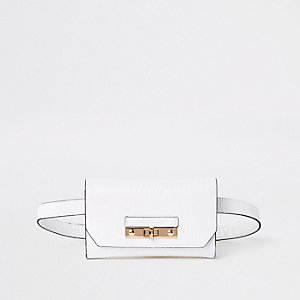 White RI branded mini belted bum bag