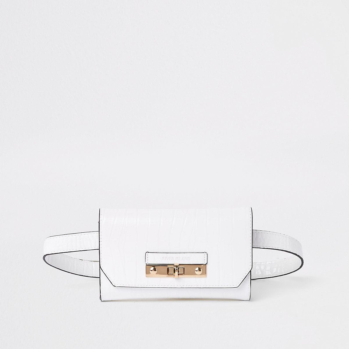White croc lock front belted bum bag