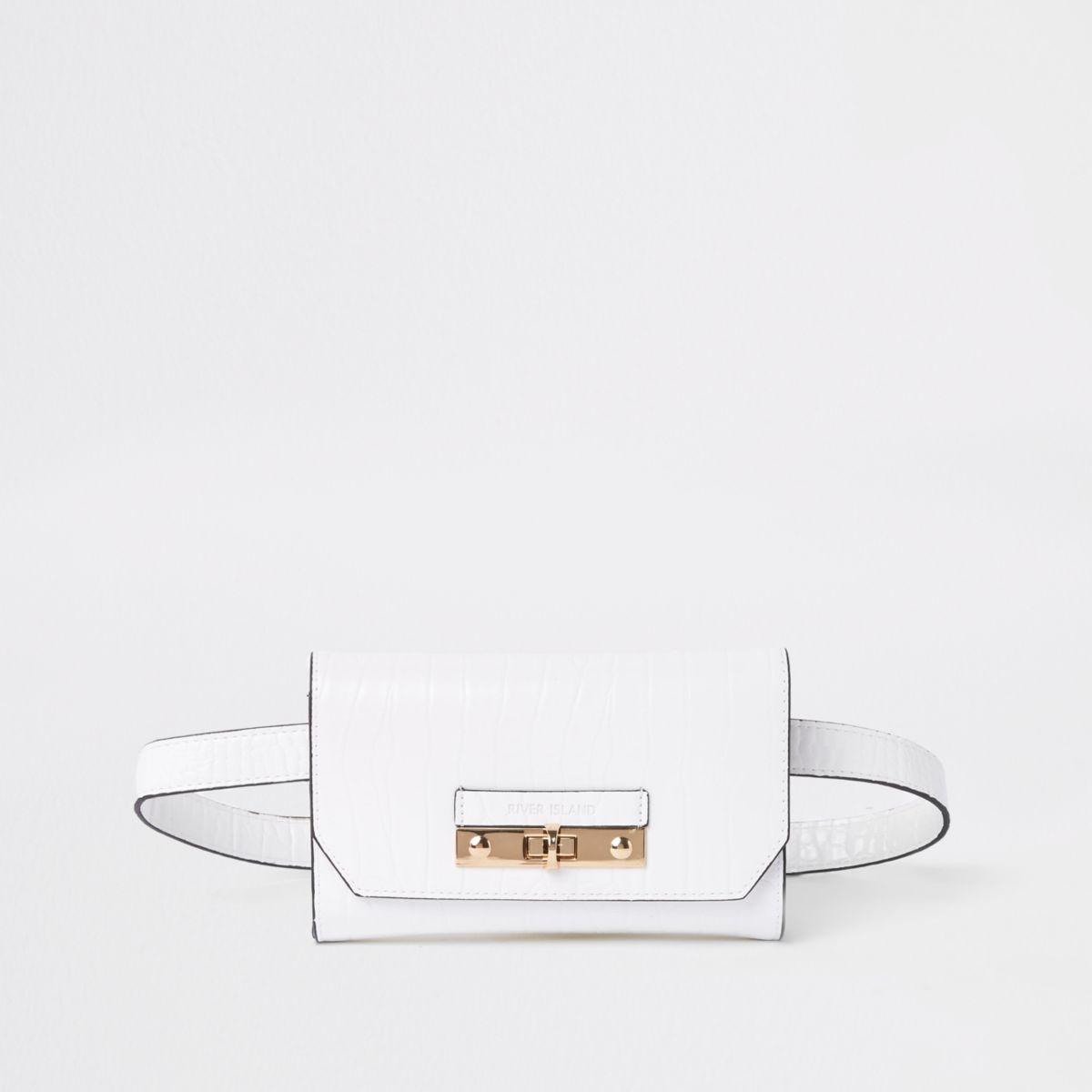 White RI branded mini belted bum bag