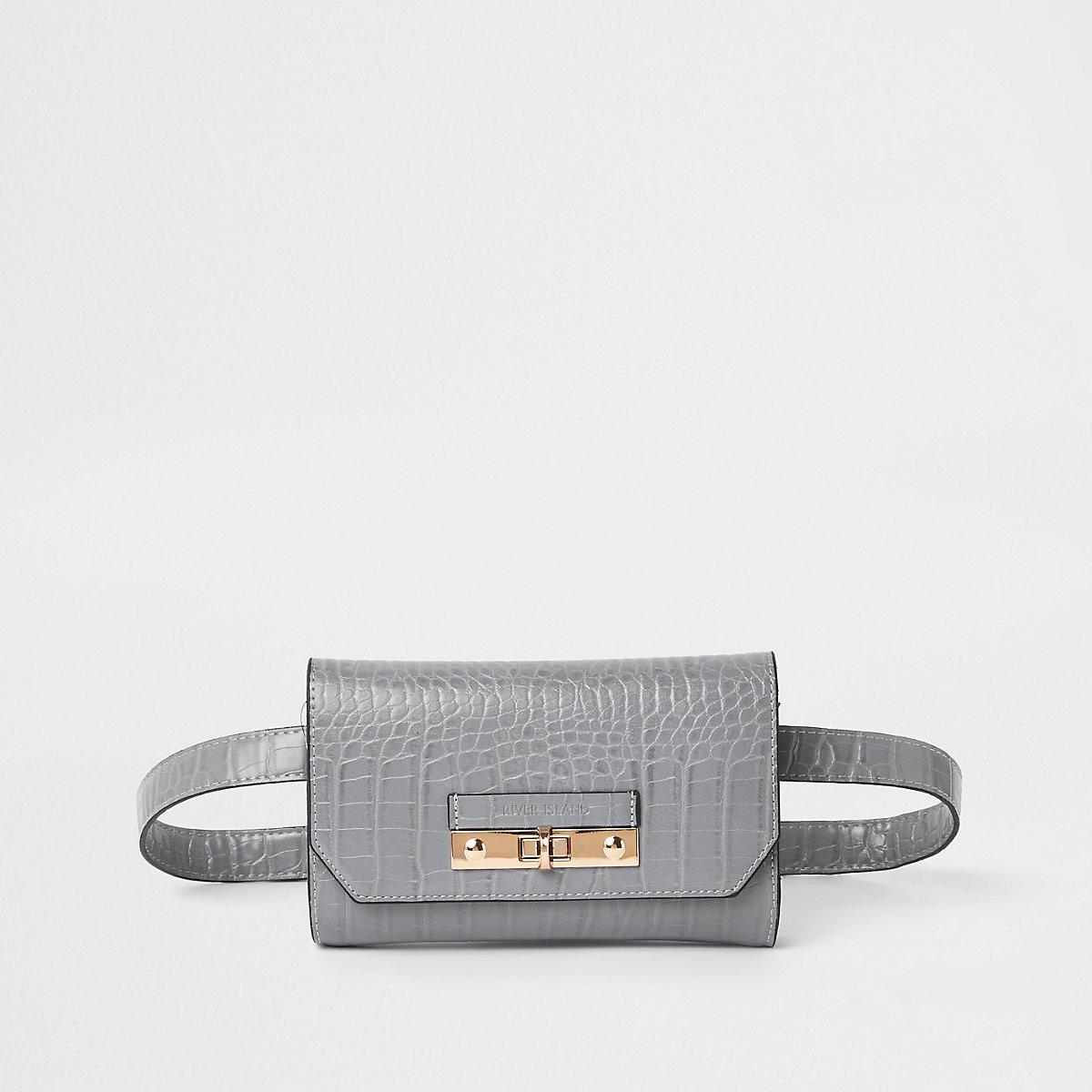 Grey croc lock front belted bum bag