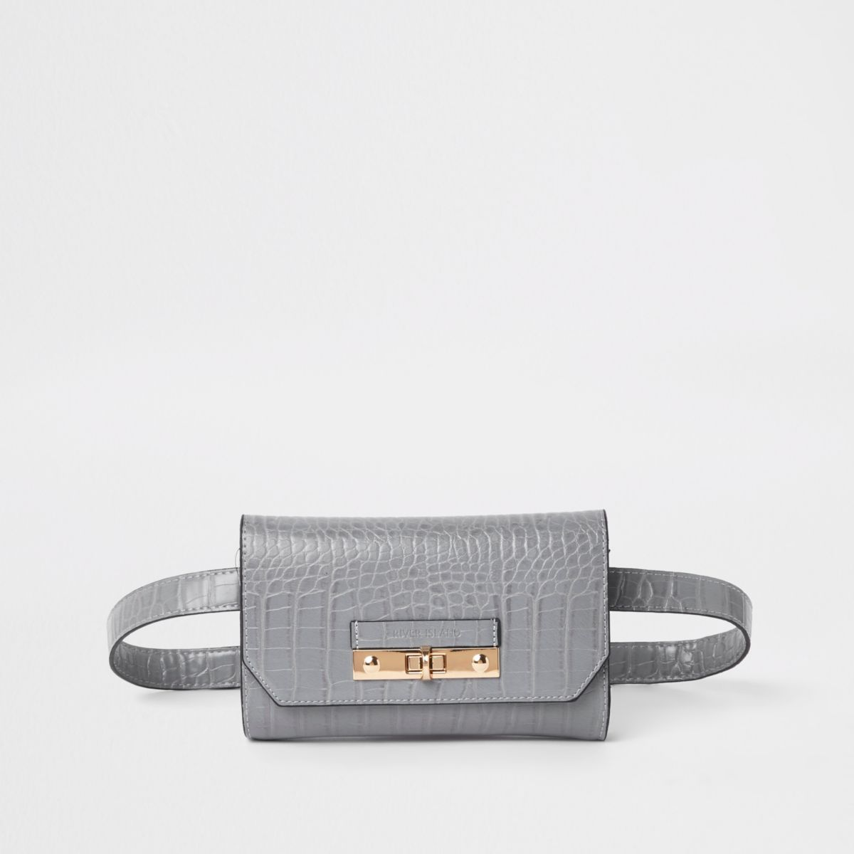 Grey RI branded mini belted bum bag