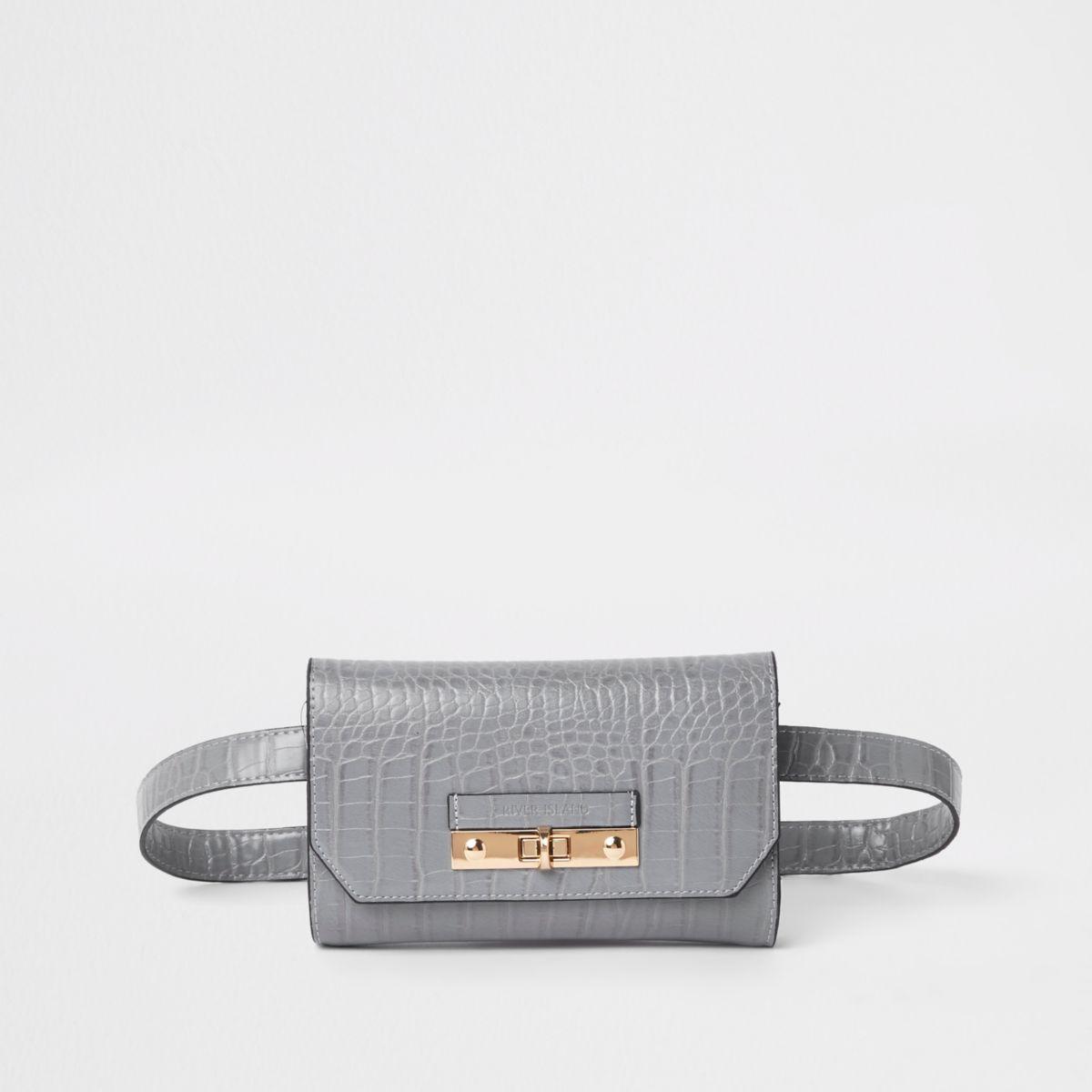 Grey RI branded mini belted bum bag
