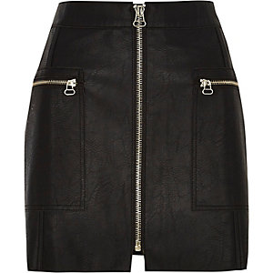 Petite black leather zip front mini skirt
