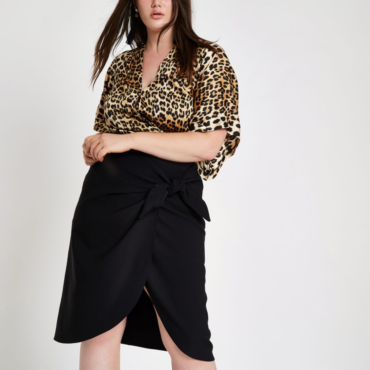 Plus black tie front pencil skirt