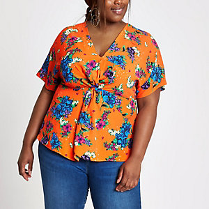 Plus orange floral knot front top