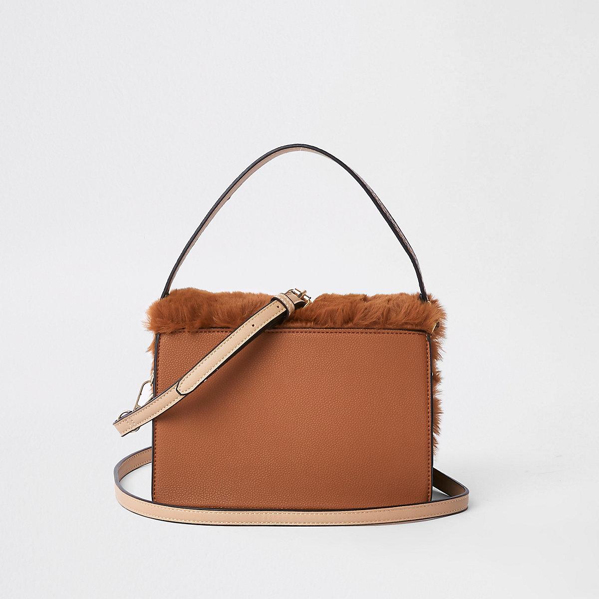 cd8ac58bc599 Brown faux fur flap cross body bag - Cross Body Bags - Bags   Purses ...