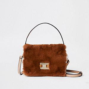 Brown Faux Fur Flap Cross Body Bag