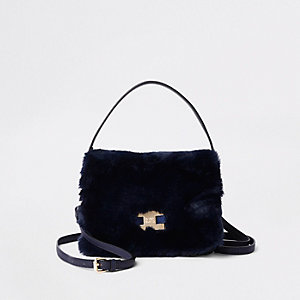 Navy faux fur flap cross body bag