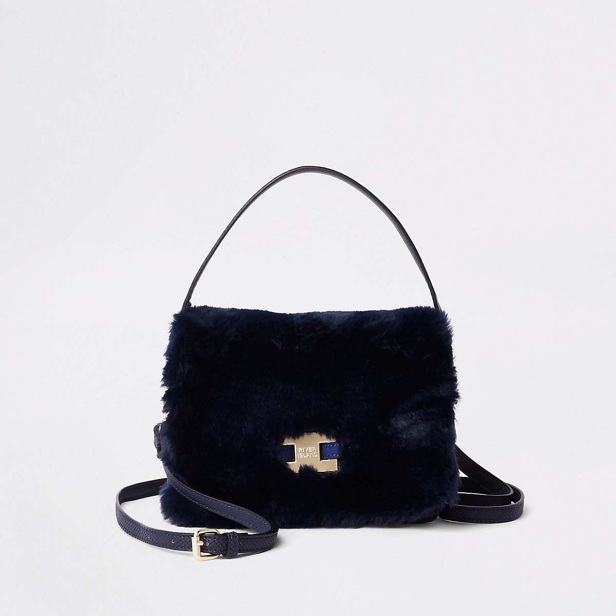 e1e93244d6 Navy faux fur flap cross body bag - Cross Body Bags - Bags   Purses - women