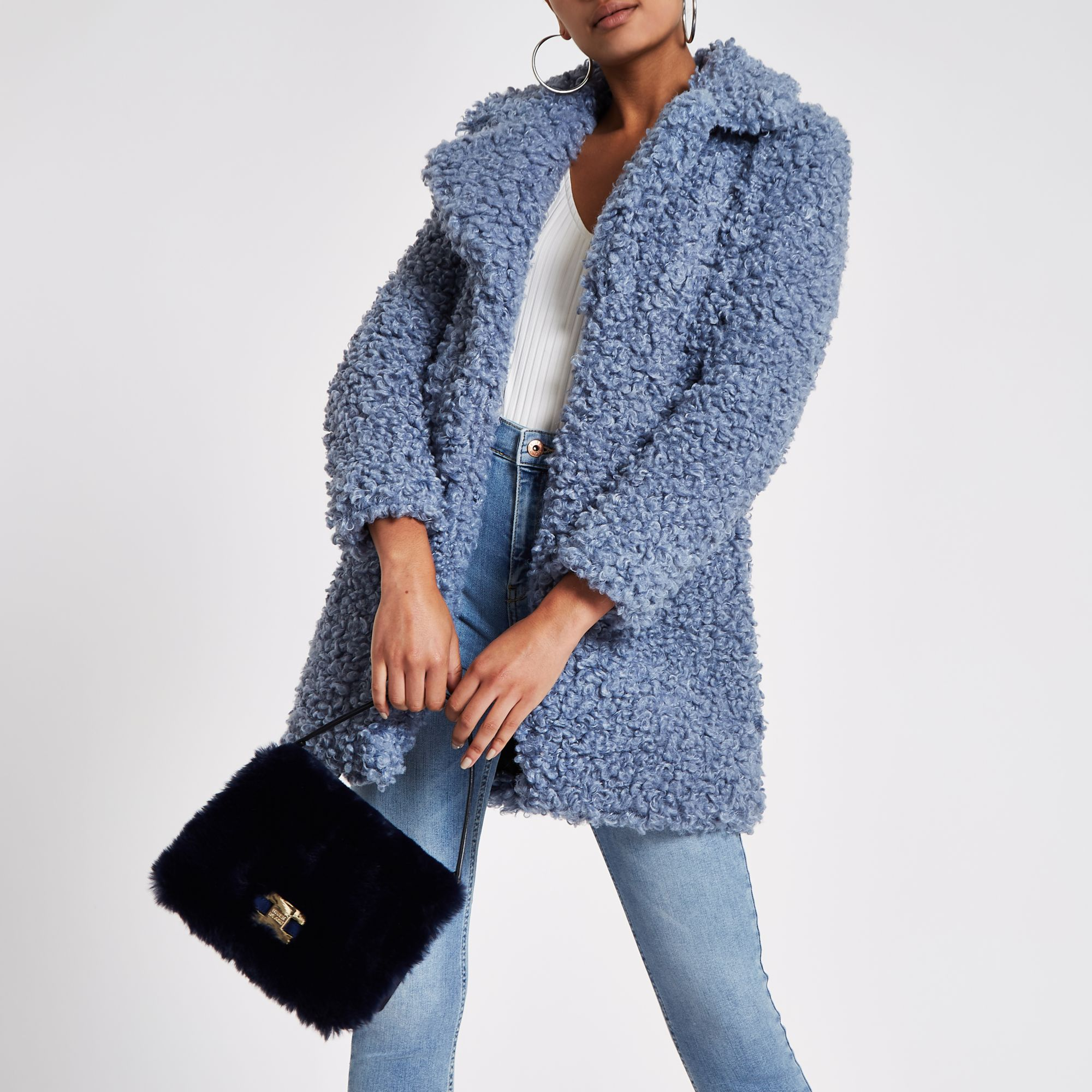 041267a0a1 River Island Navy faux fur flap cross body bag at £25