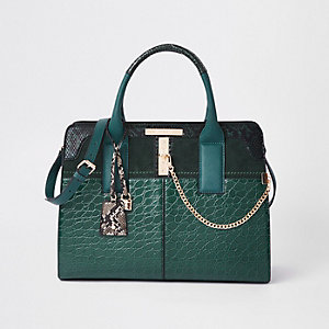 Dark green croc embossed tote bag