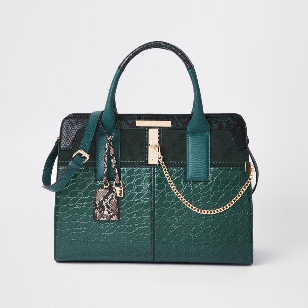 Dark green croc embossed tote bag