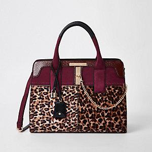 Dunkelrote Tote Bag mit Leopardenprint