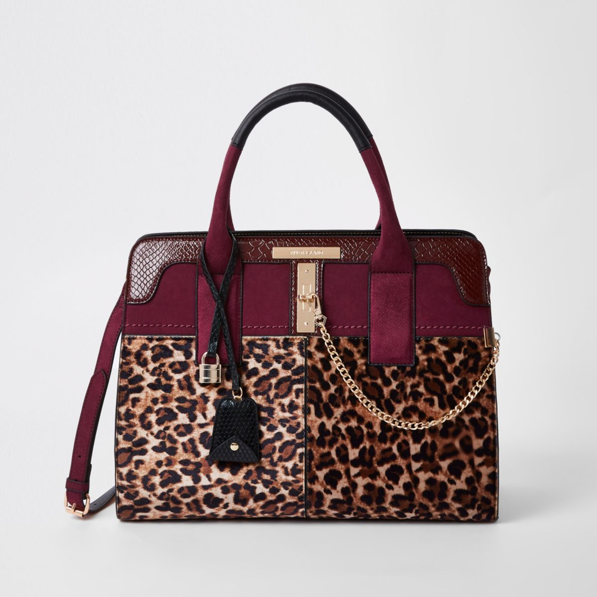 Dark red leopard print tote bag